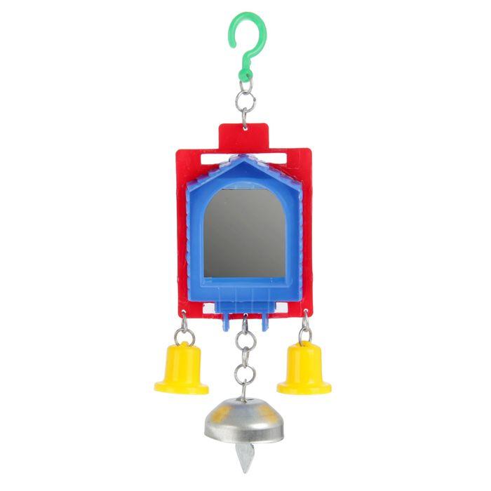 Игрушка для птиц зеркало двойное с металлическим и пластиковыми колокольчиками №2