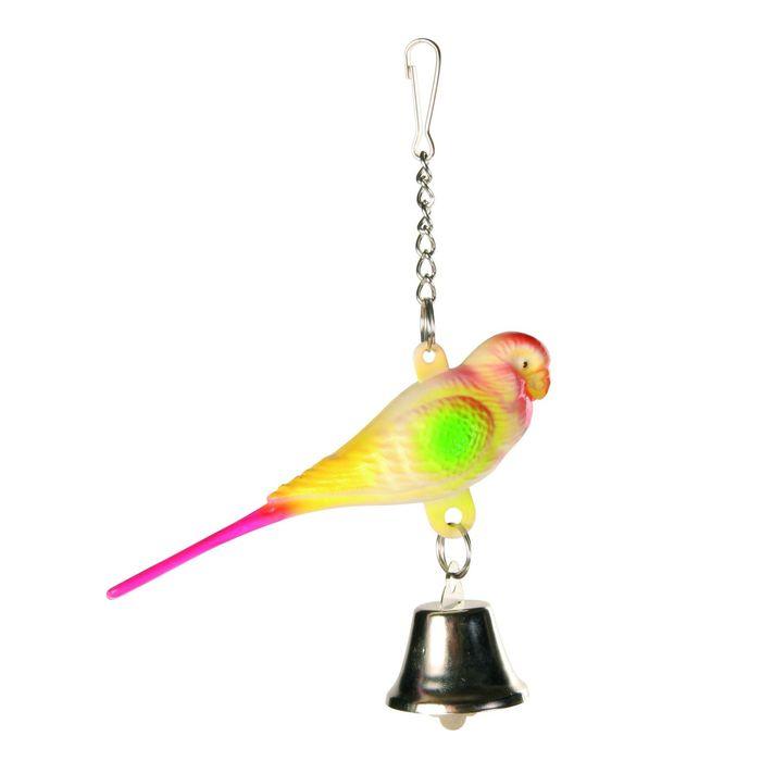 Пластиковый попугай Trixie с колокольчиком 9 см.