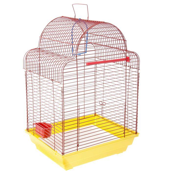 """Клетка для птиц """"Купола"""" (кормушка, жёрдочка, качель), 35 х 28 х 52 см"""
