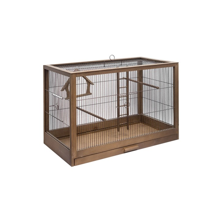 """Клетка для птиц из массива дерева """"Летняя веранда-2"""", 31 х 23,5 х 25 см, палисандр"""