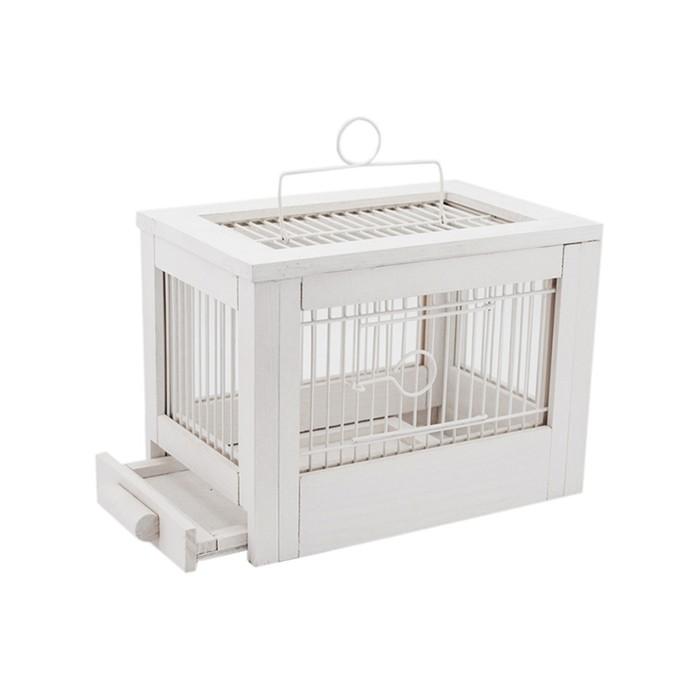 """Клетка для птиц из массива дерева """"Летняя веранда-3"""", укомплектованная, 47,5х27х32 см, белая   45010"""