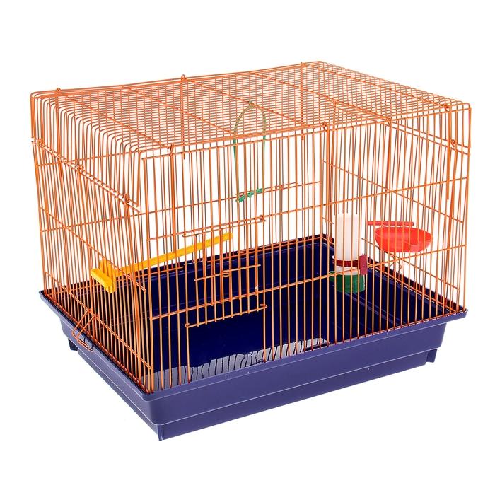 Клетка для птиц большая, прямая крыша (поилка, кормушка, жердочка, качель), 50 х 40 х 35см