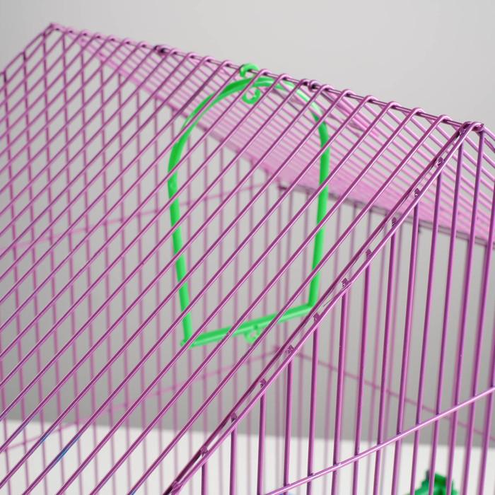Клетка для птиц малая, крыша-домик (поилка, кормушка, жердочка, качель), 35 х 28 х 43 см
