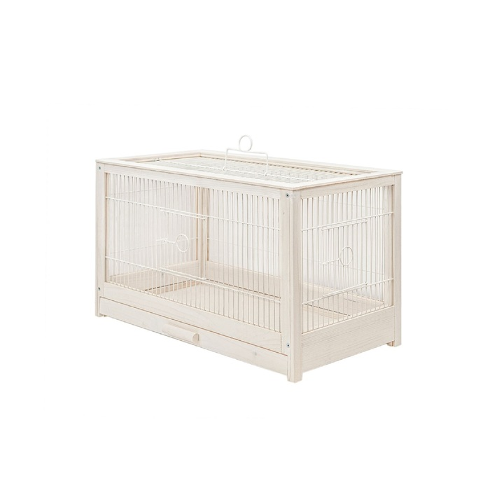 """Клетка для птиц из массива дерева """"Летняя веранда-4"""", укомплектованная, 56х30х35 см, белая"""
