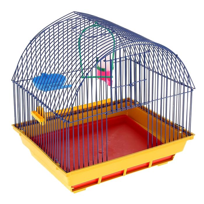 Клетка для птиц малая, полукруглая крыша (поилка, кормушка, жердочка, качель), 35х28х37см