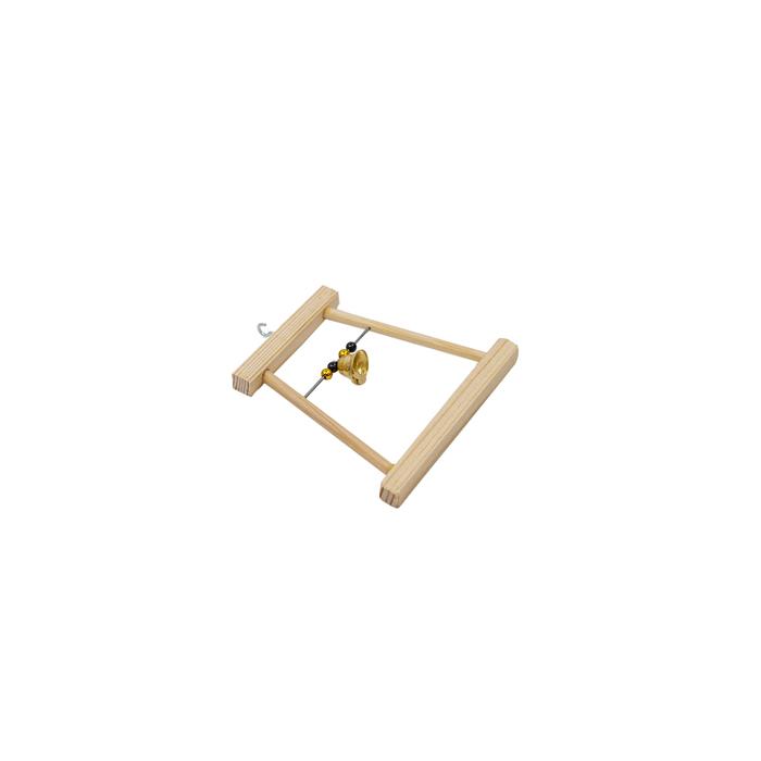 Качели для птиц в клетку деревянные, малые с бусами и колокольчиком, 12 х 0,8 х 11,5 см