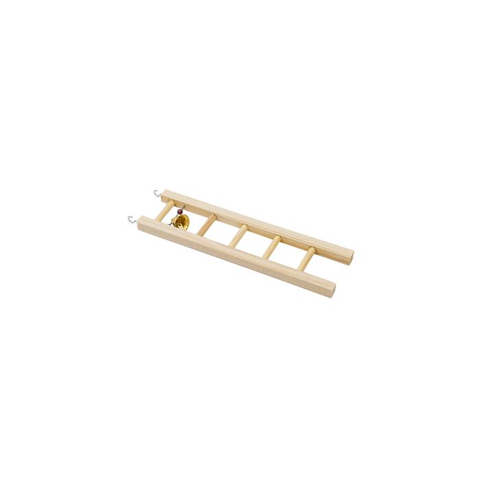 Лесенка для птиц в клетку деревянная, малая, с бусами и колокольчиком, 6,3 х 0,8 х 20 см