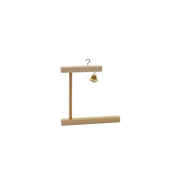 Качели для птиц в клетку деревянные, колокольчик, 12 х 0,8 х 11 см