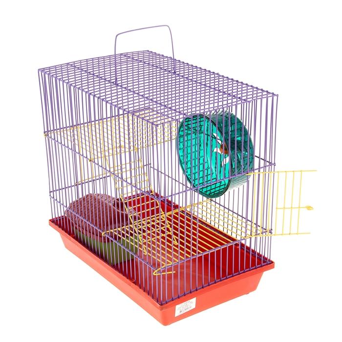 Клетка для грызунов 3-эт, метал. полки, лесенки, домик, колесо, 36 х 24 х 38 см микс цветов