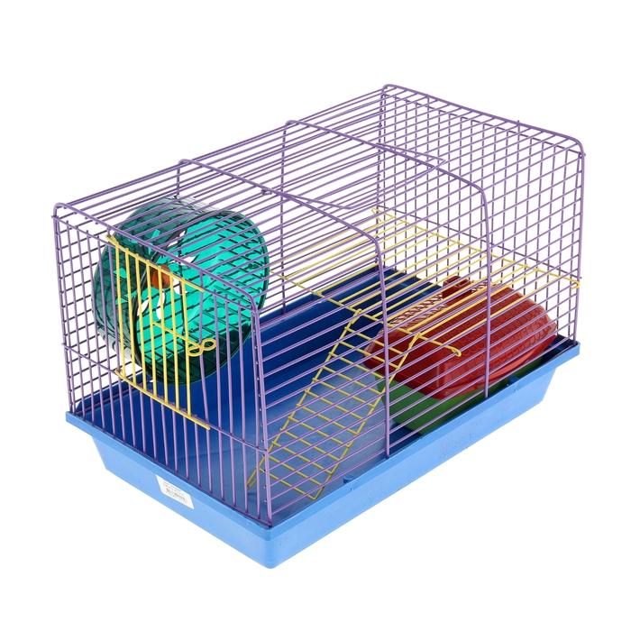 Клетка для грызунов 2-эт, металлическиеи полочки, лесенка, домик, колесо, 36 х 24 х 27 см