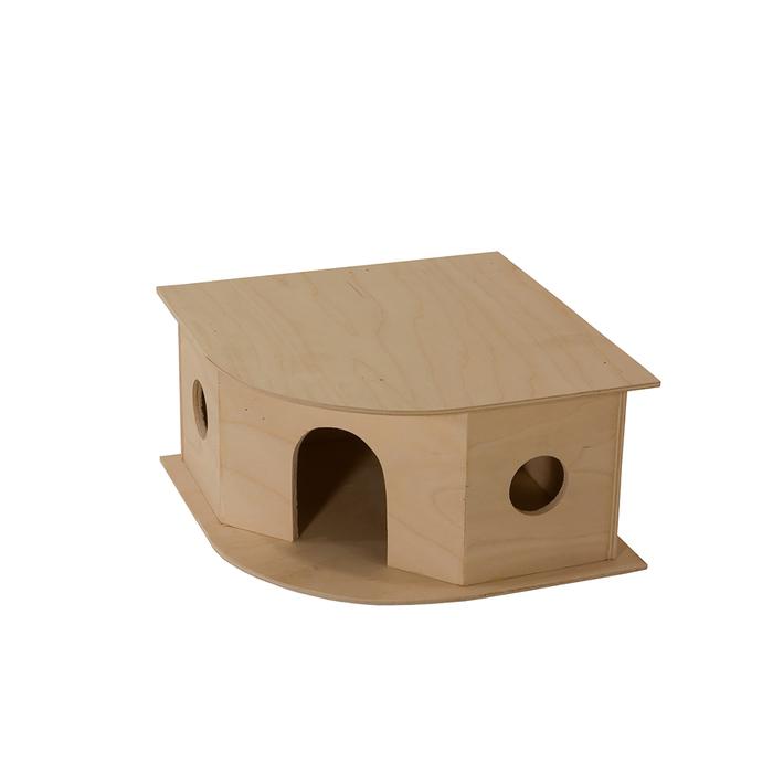 Домик для грызунов угловой, 25 х 25 х 13  см, фанера