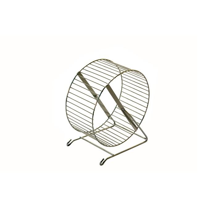 Колесо для грызунов металлическое, перекладины, 30 см, хром