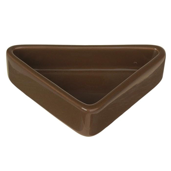 Миска керамическая для грызунов угловая 50 мл, коричневая