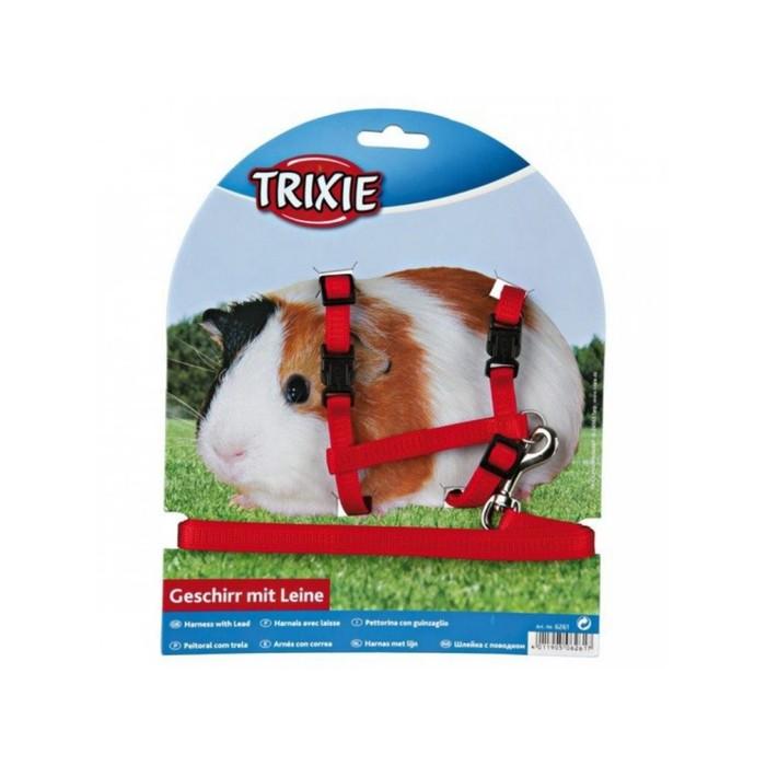 Шлейка Trixie с поводком для морской свинки,1 см х 1.2 м, микс