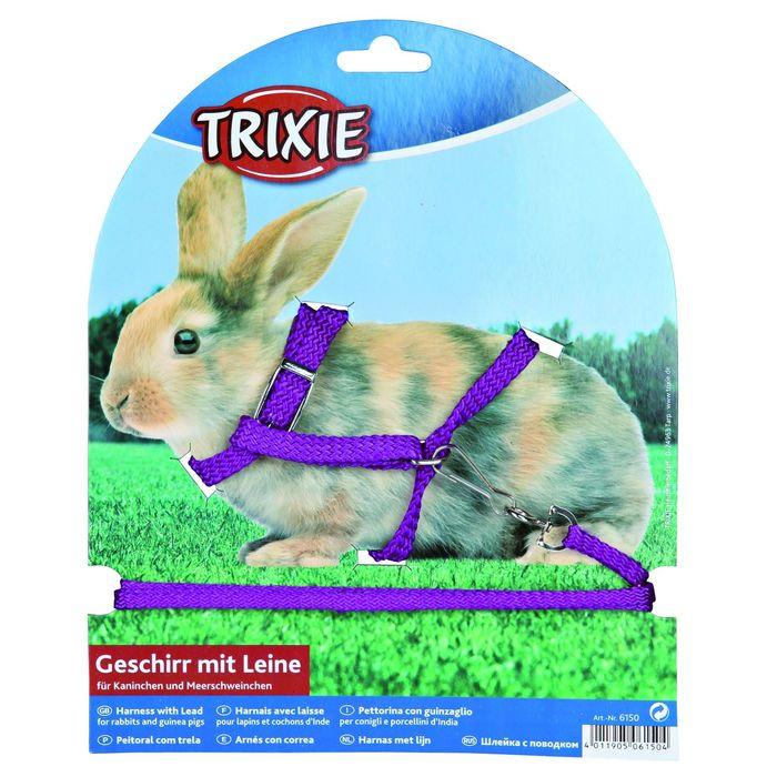 Шлейка Trixie с поводком для кроликов, 0.8 см х 1.2 м, микс