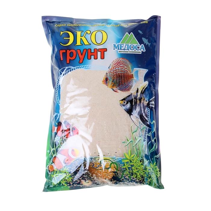 Кварцевый песок для аквариумов «Эко грунт», 3,5 кг, фракция 0,3-0,9 мм, белый