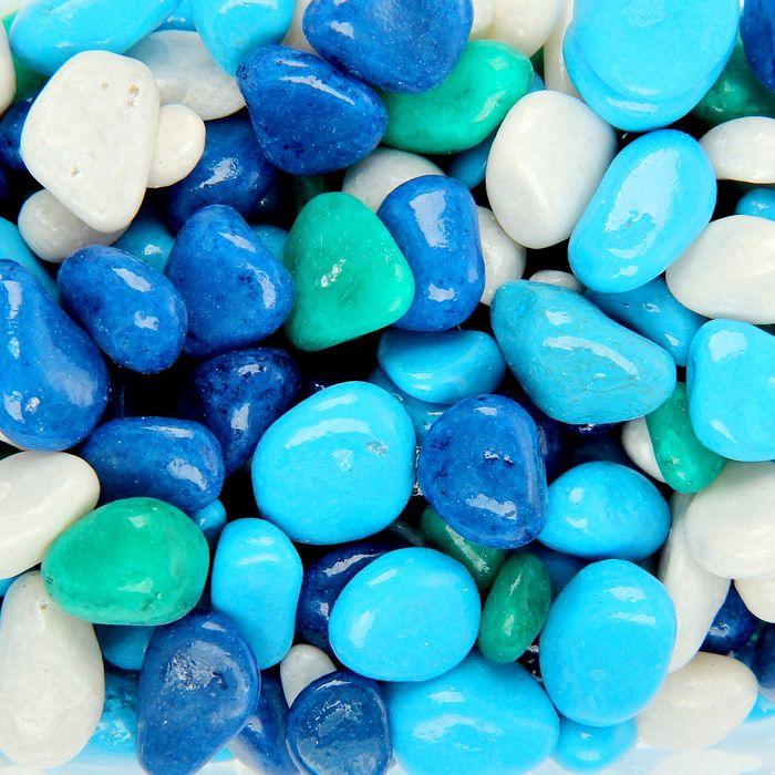 Галька для аквариума (5-10 мм) голубая-синяя-белая-бирюзовая, 350 г