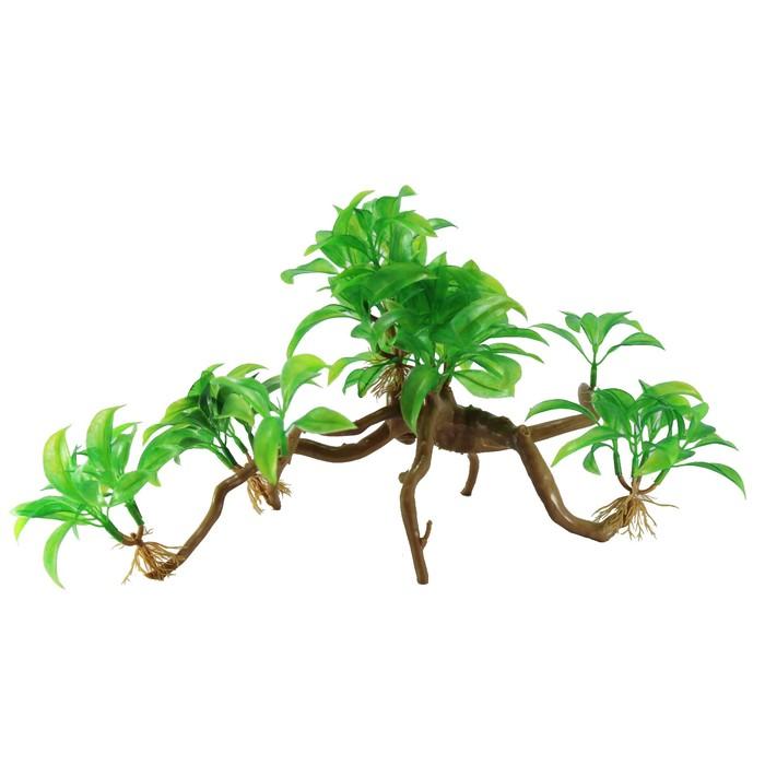 "Декорация  Fauna INT ""Растение на коряге"" №34, 35х10х20см, пластик"