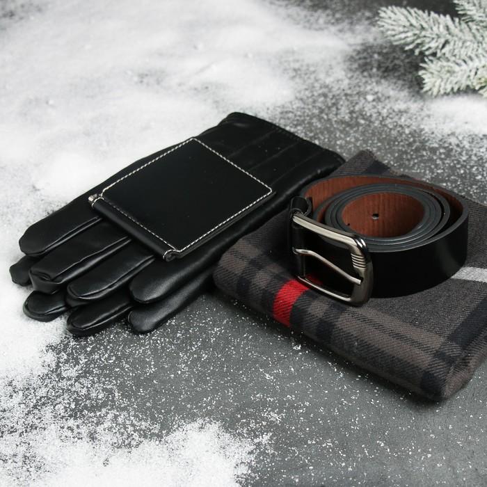"""Подарочный набор """"Успеха во всем!"""": шарф, перчатки, ремень, зажим для денег"""