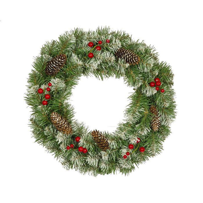 """Рождественский венок """"Нарядный"""" с декором заснеженный 40 см., Кол-во веточек - 90 шт."""