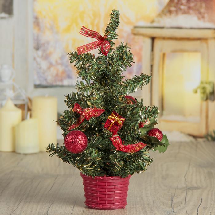 Ёлка декор настольная 25*15 см шарики красный
