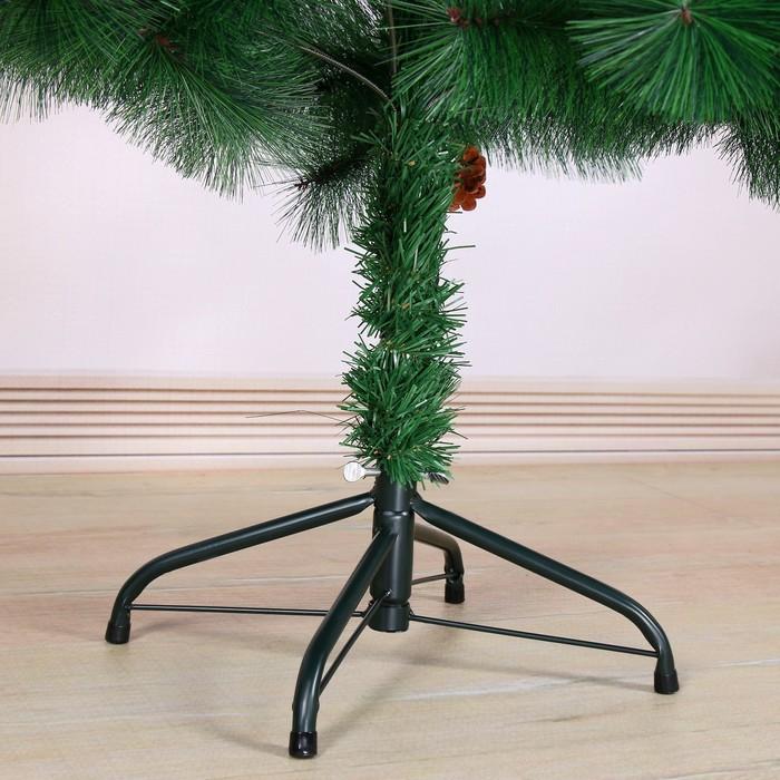 Кедр зеленый шишки 150 см, d игл 10 см, d нижнего яруса 88 см, 152 ветки, металл подставка