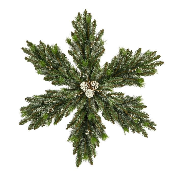 """Рождественская снежинка """"Нежность"""" с шишками двухсто-няя засне-ная 90 см.Кол-во веток:192 ш"""