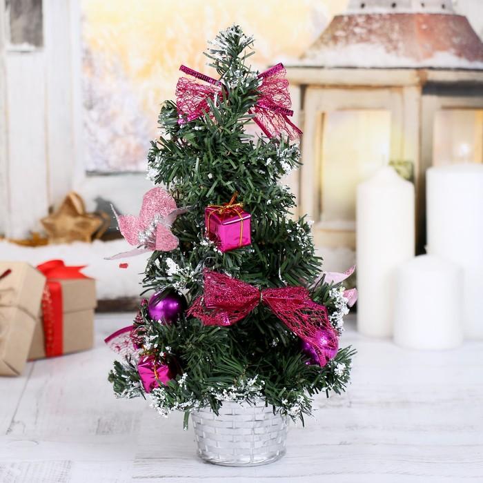 Ёлка декор 30 см розовая пуансетия в снегу
