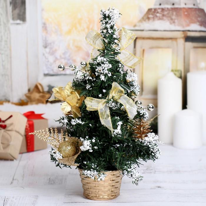 Ёлка декор 30 см в горшке снег золото