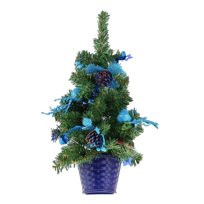 Ёлка декор настенная синий 45 см, d нижнего яруса 25 см