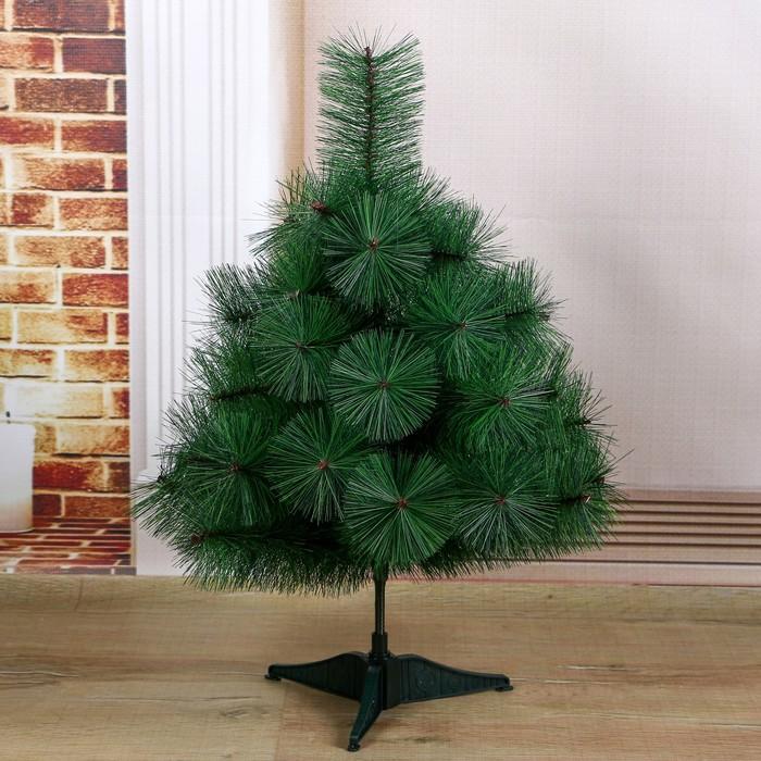 Кедр зеленый 60 см, d иголок 10 см, d нижнего яруса 50 см, 35 веток, пласт подставка