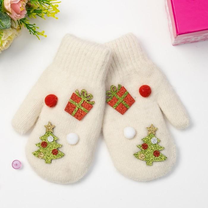 """Варежки детские MINAKU """"Новый год"""", размер 18, цвет белый"""