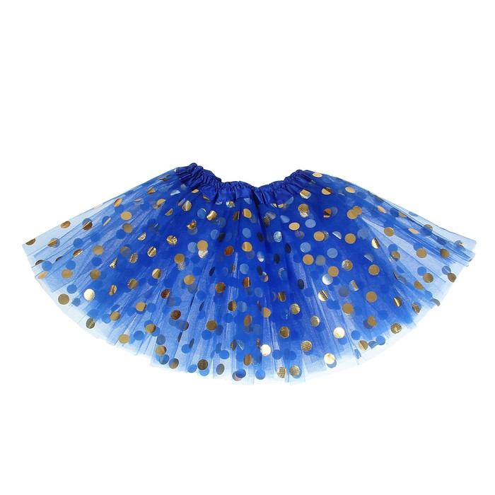 """Карнавальная юбка """"Горох"""" 3-х слойная 4-6 лет, цвет синий"""