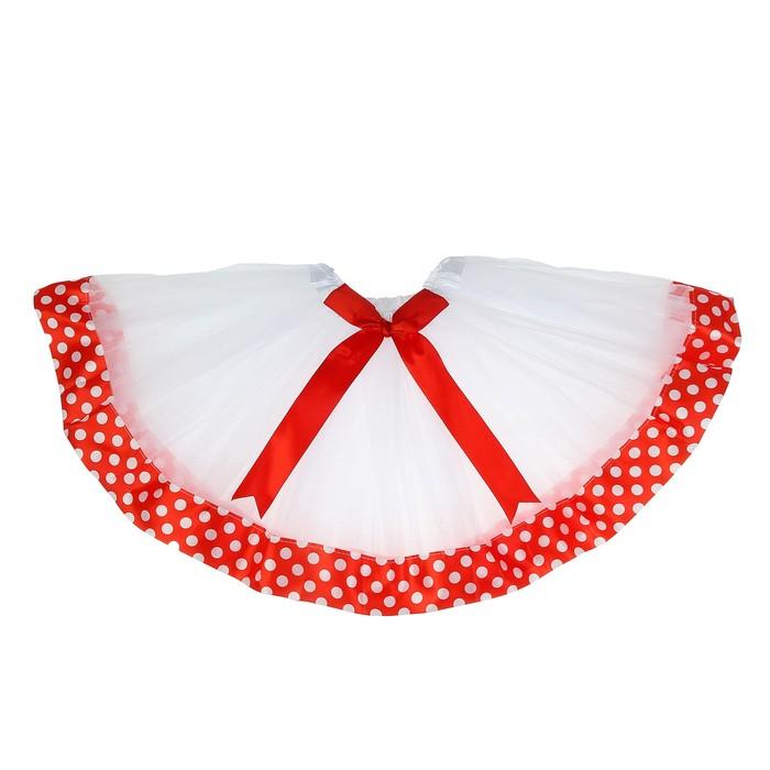 """Карнавальная юбка """"Горох"""" 3-х слойная с бантиком 4-6 лет, цвет красный"""
