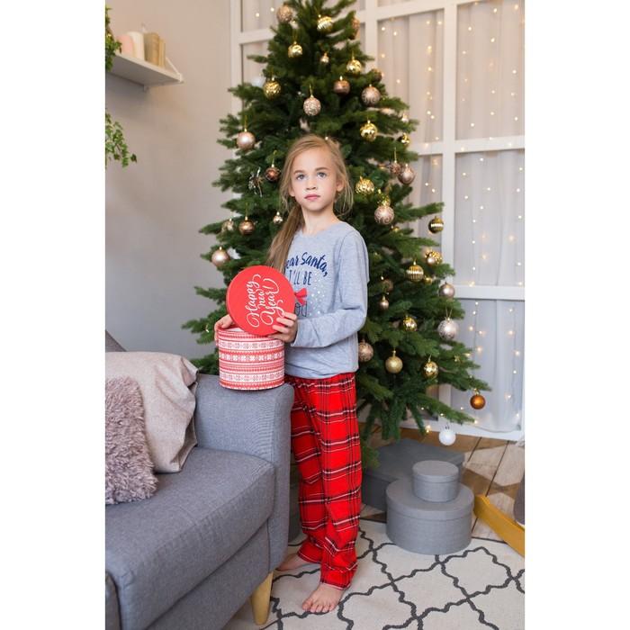"""Пижама для девочки KAFTAN """"Happy family"""" р.32 (110-116), красный/серый"""