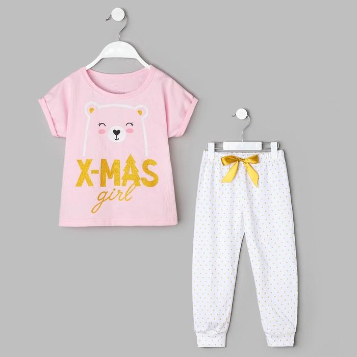 "Пижама детская KAFTAN ""Girl"" р.30 (98-104), белый/розовый"