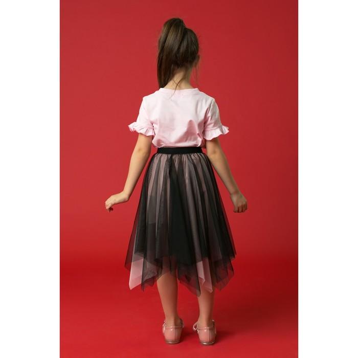 """Юбка для девочки """"Волшебство"""", рост 110-116 см, цвет чёрный/розовый"""