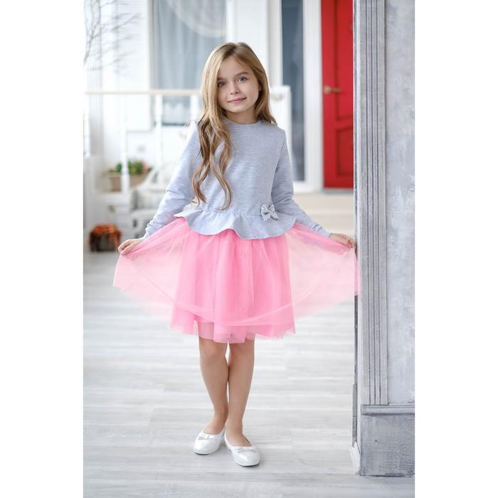Платье для девочки KAFTAN, серый/розовый, рост 98-104 см (30)