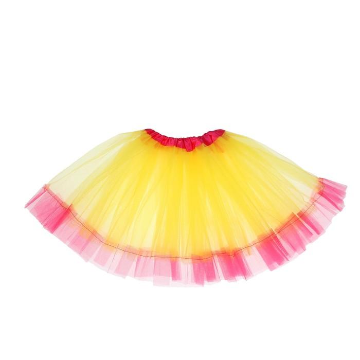 """Карнавальная юбка """"Кокетка"""" 2-х слойная 4-6 лет, цвет жёлтый"""