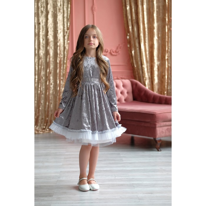 """Платье для девочки KAFTAN """"Куколка"""", серый, рост 110-116, р.32"""