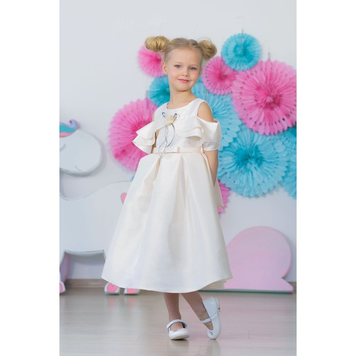 Платье нарядное для девочки MINAKU «Габриелла», рост 134 см, цвет бежевый