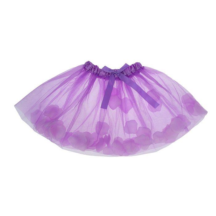 Карнавальная юбка с лепестками роз 4-6 лет, цвет фиолетовый