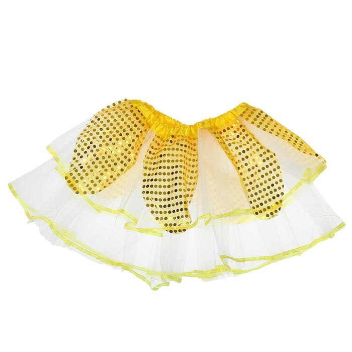 "Карнавальная юбка ""Цветочек"" 2-х слойная 4-6 лет, цвет жёлтый"