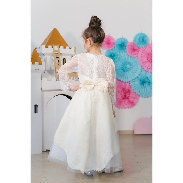 Платье нарядное для девочки MINAKU «Белль», рост 110 см, цвет бежевый/белый