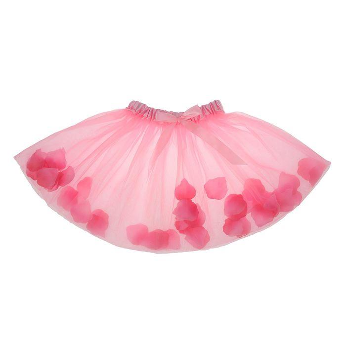 Карнавальная юбка с лепестками роз 4-6 лет, цвет светло-розовый