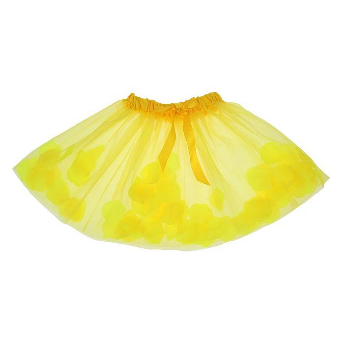 Карнавальная юбка с лепестками роз 4-6 лет, цвет желтый