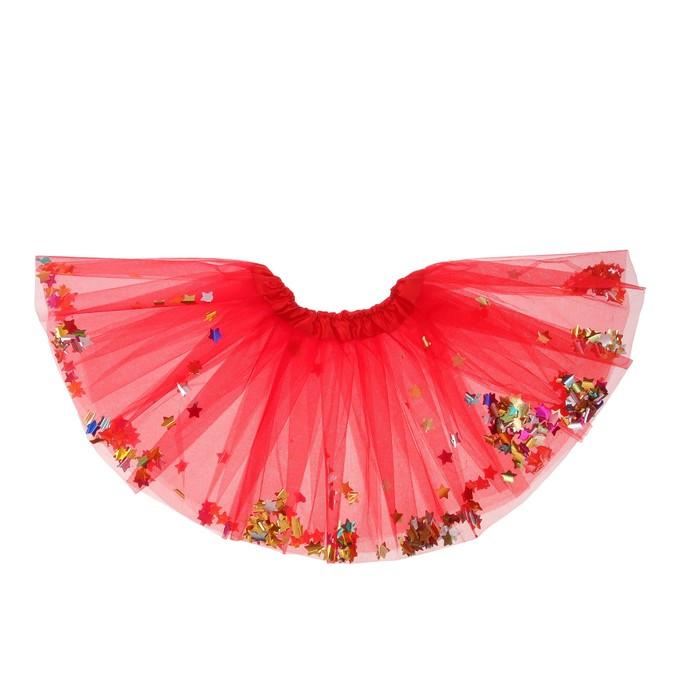 """Карнавальная юбка """"Кокетка"""" с конфетти, цвет красный"""