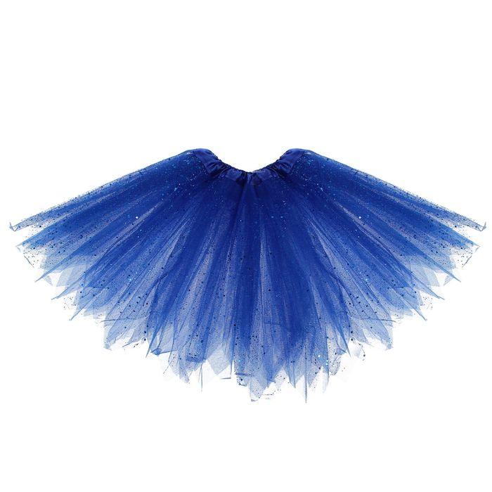 """Карнавальная юбка """"Блеск"""", 3-х слойная 4-6 лет, цвет синий"""
