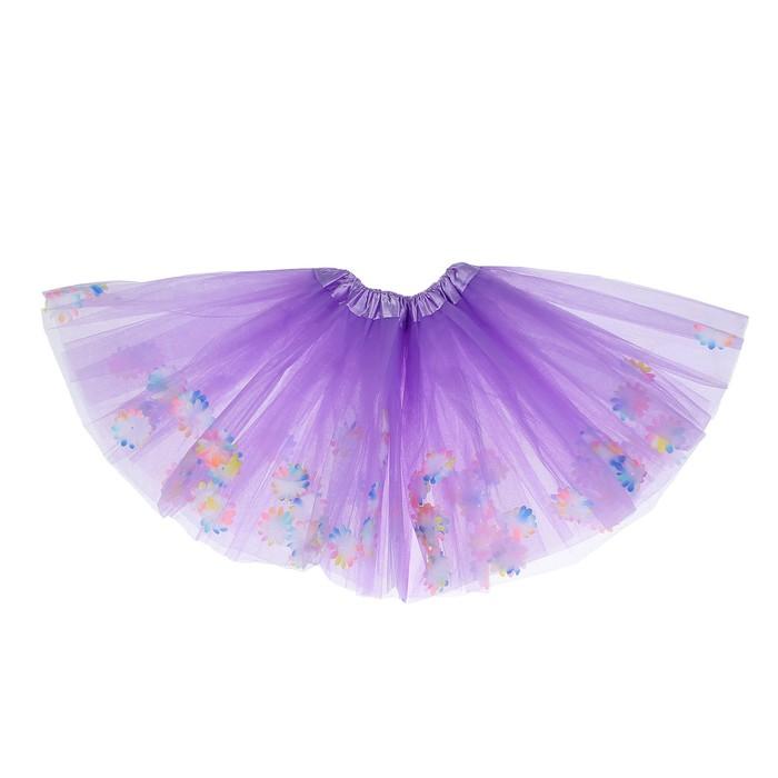"""Карнавальная юбка """"Цветочки"""" 3-х слойная 4-6 лет, цвет фиолетовый"""