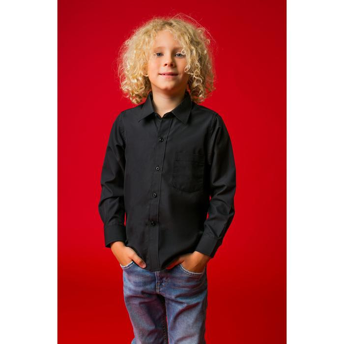 """Рубашка для мальчика """"Классическая"""", рост 128 см, цвет чёрный"""
